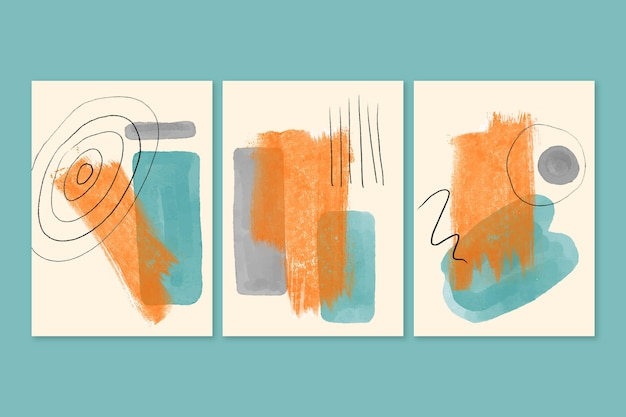 Group of abstract watercolor shapes covers