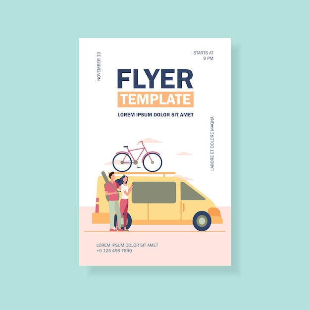Group of active tourists gathering at vehicle flyer template