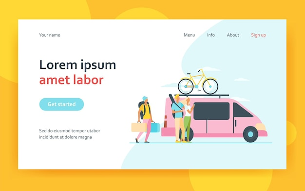 Group of active tourists gathering at vehicle landing page