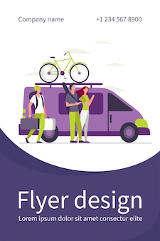 Group of active tourists gathering at vehicle. minivan with bike on top moving flat flyer template