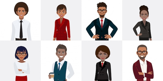 Group of african american business people cartoon character in office style