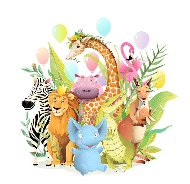 Group of african safari animals celebrating birthday or other party event, congratulation greeting card for kids. children 3d cartoon with zebra elephant lion giraffe hippo kangaroo croc.