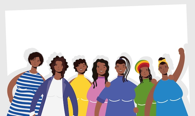 Group of afro women characters