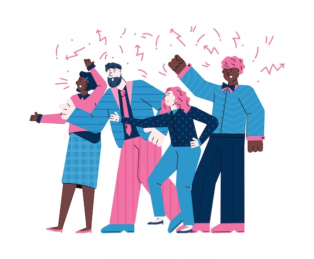 Group of angry people conflicting or protesting vector illustration isolated.