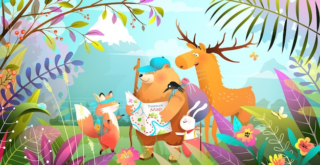 Group of animals friends hiking in magic forest with leaves flowers and mountains. nature landscape with adventurous bear rabbit fox and moose looking at the map.  illustration for kids.