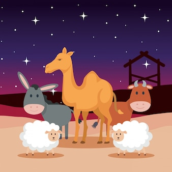 Group of animals manger characters
