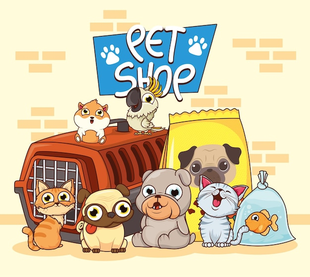 Group of animals pets with box transport and food bag