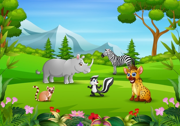 Group of animals relaxing in the field