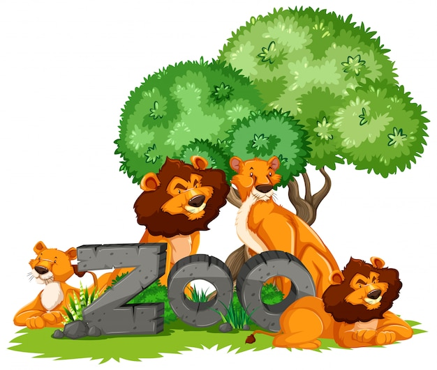 Group of animals under the tree with zoo sign