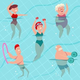Групповая аквааэробика в бассейне. молодые и пожилые мужчины и женщины делают аквагимнастику. люди фитнес мультфильма, изолированных на фоне. набор здорового образа жизни.
