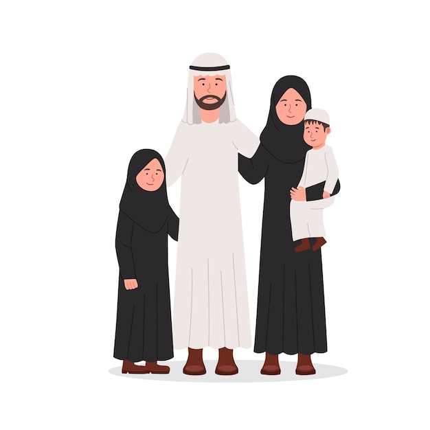 Group of arab muslim family together flat cartoon illustration