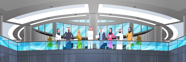 Group of arabic business people in modern office arab businessman and businesswoman employees workers horizontal illustration