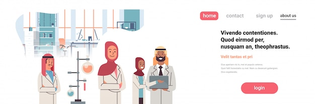 Group arabic scientists working banner
