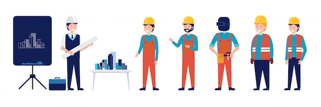 A group of architect and civil engineering planning building vector illustration