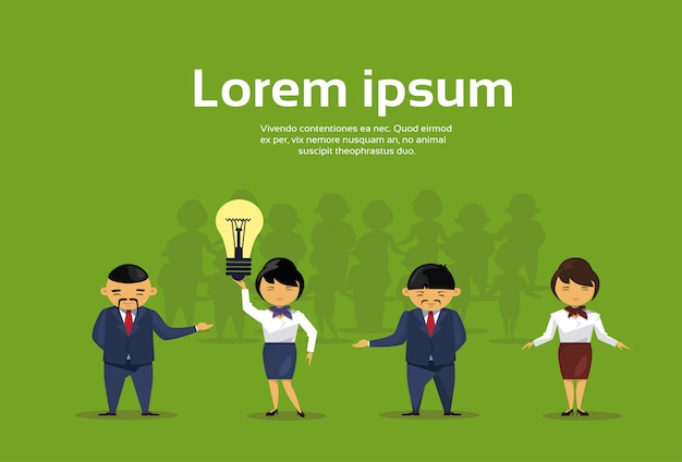 Group of asian business people with light bulb