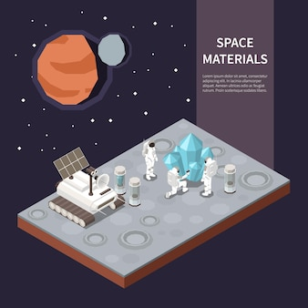 Group of astronauts exploring planet and collecting materials near their space ship 3d isometric
