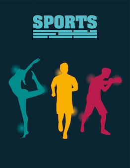 Group of athletic people practicing sports silhouettes