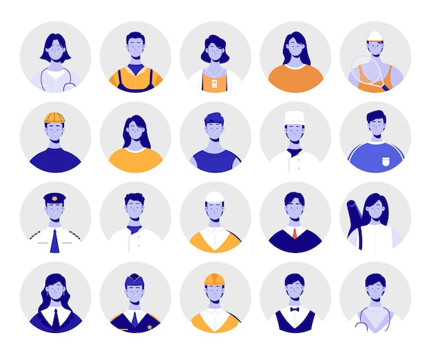 Group of avatars. profession avatars pack.