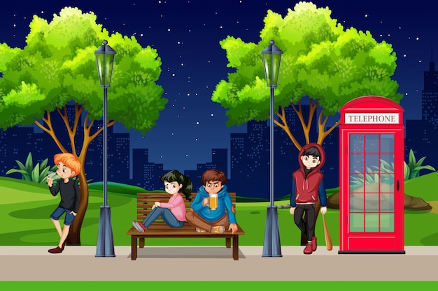 Group of bad teenagers park scene Free Vector