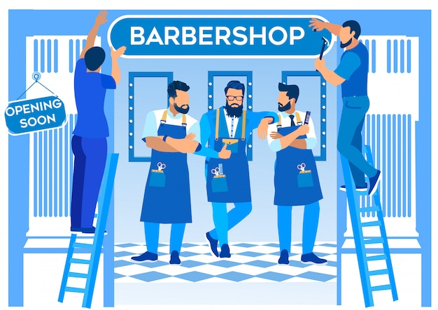 Group of bearded barbers stand in barbershop.