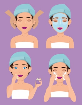 Group of beautiful women in facial treatment