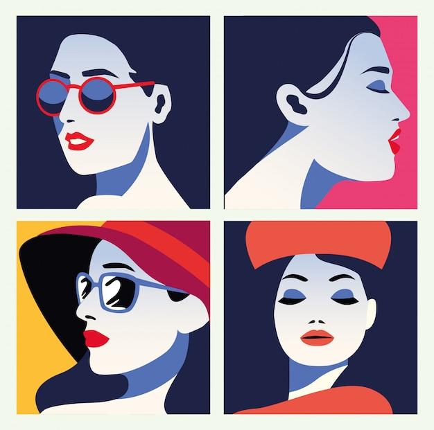 Group of beautiful women fashionable characters
