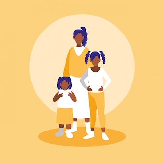 Group of black family members characters