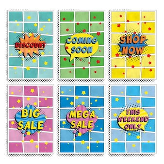 Group of 'black friday sale' flyer design templates in retro pop art style.