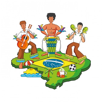 Group of brazilian dancers characters