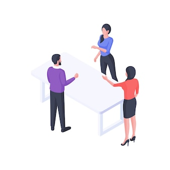 グループビジネスディスカッション等角図。女性キャラクターのサラリーマンが男性の同僚と議論し、対話します。ビジネスサービスの対話とチームワークの概念。