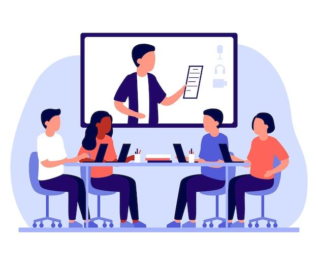 그룹 비즈니스 직원 사람들은 인터넷을 통해 사무실과 온라인 커뮤니케이션에서 함께 일합니다.