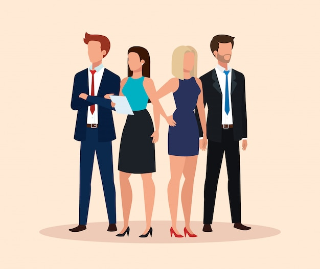 Group of business people avatar character | Free Vector