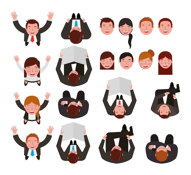 Group of business people bundle characters