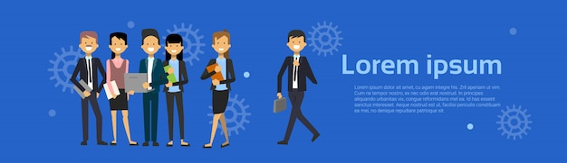 Group of business people businessman and businesswoman cartoon standing