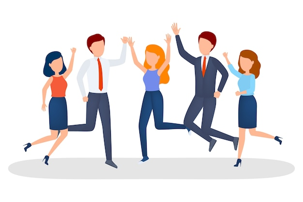Group of business people celebrate the success