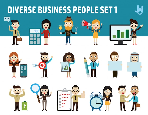 Group of business people character