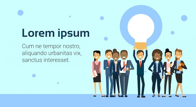 Group of business people holding light bulb creative idea for startup banner template