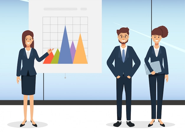Group of business people presenting business chart on whiteboard. character people in seminar scene in office.