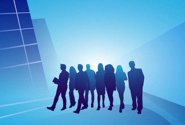 Group of business people silhouette businesspeople walk step forward over abstract background