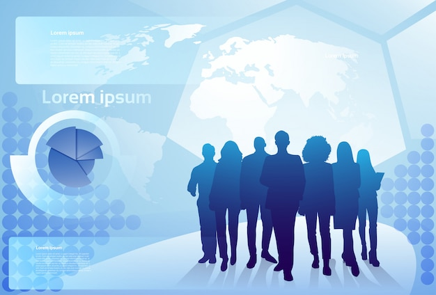 Group of business people silhouette walking over world map background businesspeople team concept