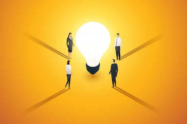A group of business people stand look and a brainstorm, inspiration, idea creativity thinking around light bulb. illustration