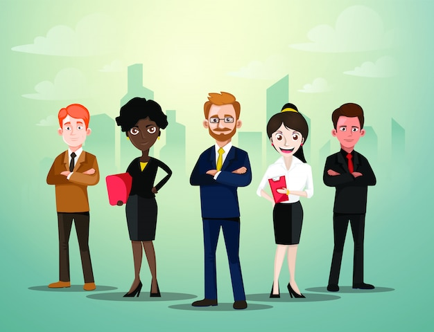 Group of business people standing in front of city background mix ethnic