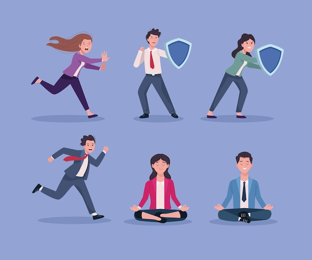 Group of business people stressed and relaxed  illustration