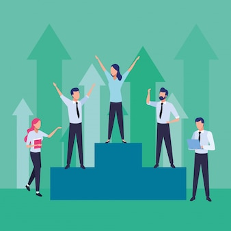Group of business people teamwork in podium characters