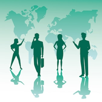 Group of business people teamwork silhouettes and earth planet maps