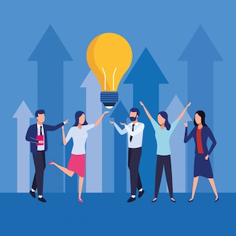 Group of business people teamwork with bulb characters