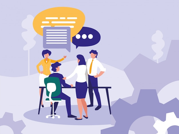 Group business people with speech bubble