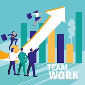 Group of business people with statistics graphic