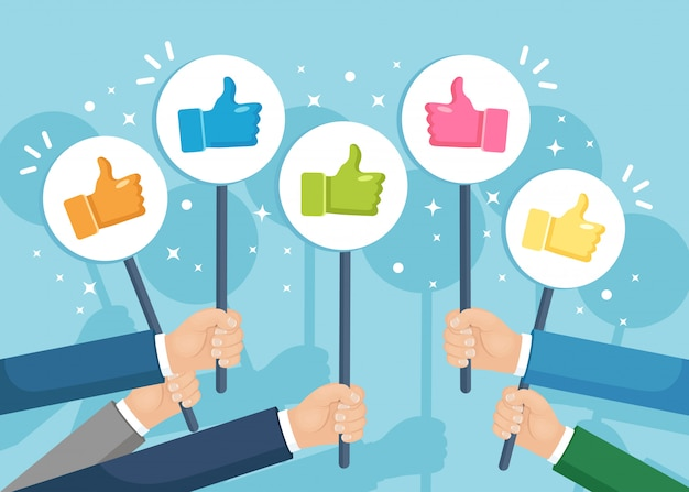 Group of business people with thumbs up. social media. good opinion. testimonials, feedback, customer review concept.