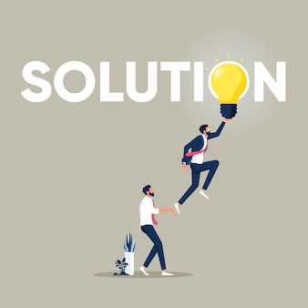 Group of business professionals reach glowing light bulbs solutions and problem solving